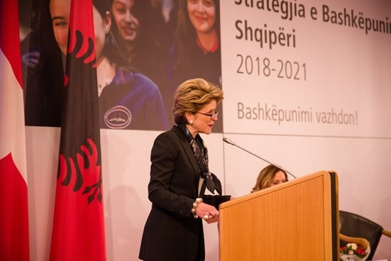 Swiss State Secretary for Economic Affairs Marie-Gabrielle Ineichen-Fleisch at the launching of the new cooperation strategy for Albania 2018-2021