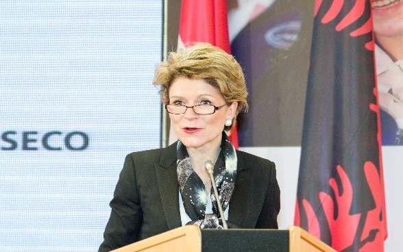 State Secretary Marie-Gabrielle Ineichen-Fleisch addressing the launch of the cooperation strategy in Albania, March 7th, 2018