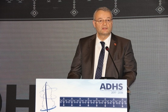 Swiss Ambassador in Albania Adrian Maître speaking at the launching of the demographic and health survey. ©