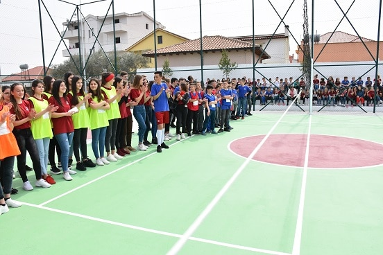 Students at primary school in Shijak, Albania, during the inauguration of the new sports field.