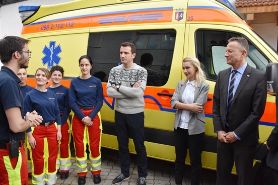 Staff at the Emergency Response Albania with Mayor of Tirana Erion Veliaj and Swiss Ambassador Christoph Graf.