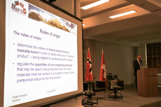 EFTA expert presents technical information on Rules of Origin to Georgian counterparts