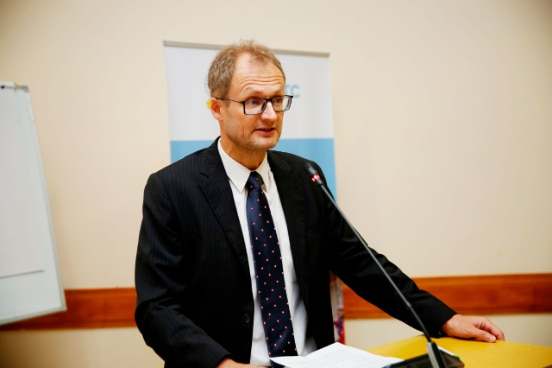 Ambassador Philipp Stalder delivering his remarks