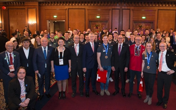 Grouppicture of participants at the official Swiss reception during Winter Universiade Almaty, 2017