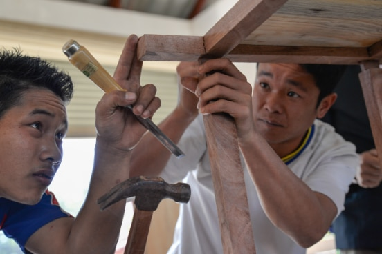 Carpentry students at a vocational skills training college in Phongsaly, Lao PDR.
