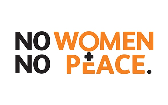 Logo noir et orange disant: No women. No peace.