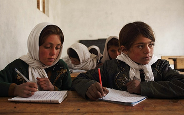 Pupils at the Sast school in the village of Warzud, Badakhshan Province, Afghanistan