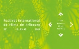 Poster advertising the 33rd Fribourg International Film Festival; white writing on a green background with a butterfly pattern.