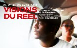Film poster of the Visions du Réel festival showing two men in a car.