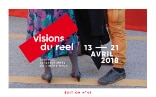 The poster advertises the upcoming Visions du Réel festival, 13–21 April 2018. A woman wearing a dress with a flower pattern and a man in brown trousers standing on the festival site.