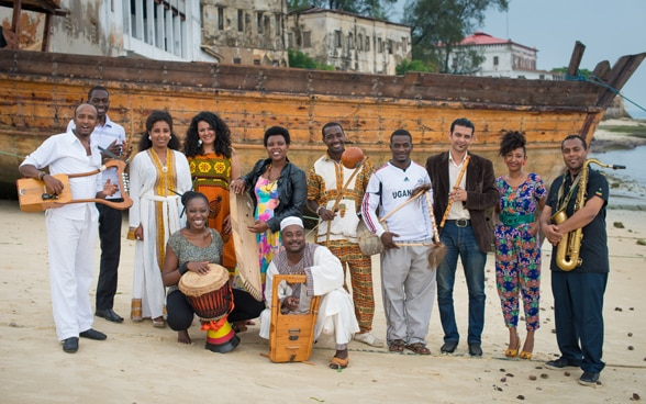 Group photo of Nile Project musicians.