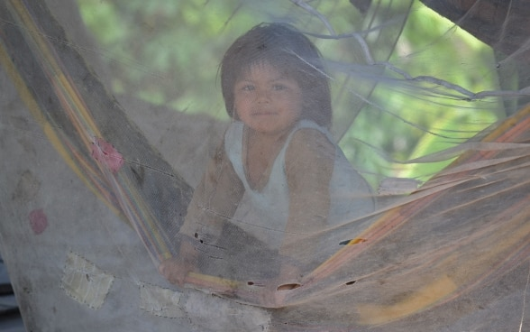 A child sitting in a hammock covered by a mosquito net.