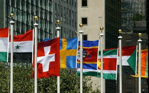 Flags of various nations blow in the wind in front of a skyscraper – the headquarters of the United Nations in New York.