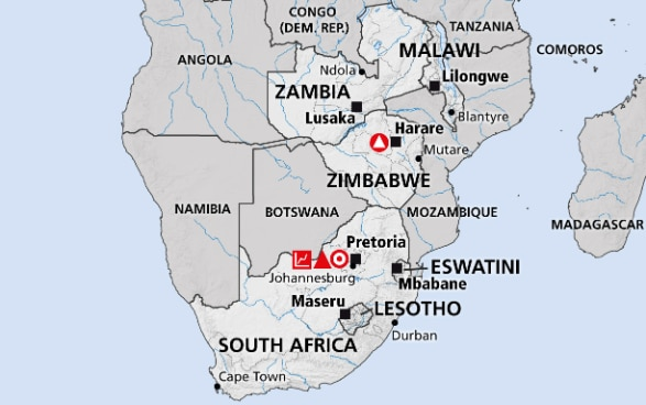 Map of the region Southern Africa (South Africa, Zimbabwe, Malawi, Swaziland, Zambia, Lesotho)