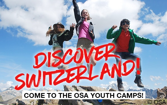 Three young people in the mountains and at the bottom of the picture is written, come to the OSA youth Camp.