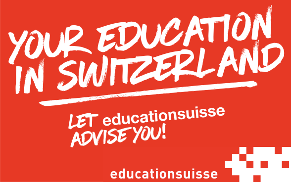 Logo: written in white on red, your education in Switzerland, let education Swiss advise you.
