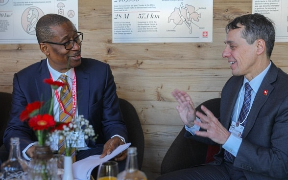 Federal Councillor Ignazio Cassis and Nigerian Industry Minister Okechukwu Enelamah pose for a photo at the WEF in Davos.