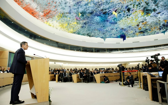 Federal Councilor Ignazio Cassis during his speech at the opening of the 40th session of the Human Rights Council