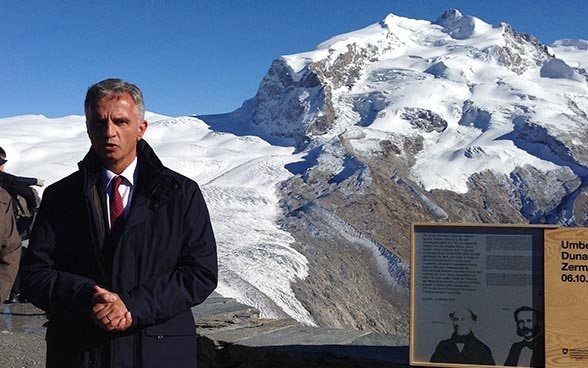 The Swiss President Didier Burkhalter at the Gornergrat. © FDFA