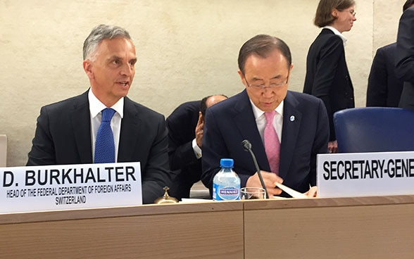 FDFA Head Didier Burkhalter and UN Secretary-General Ban Ki-moon at the Conference on Preventing Violent Extremism in Geneva.