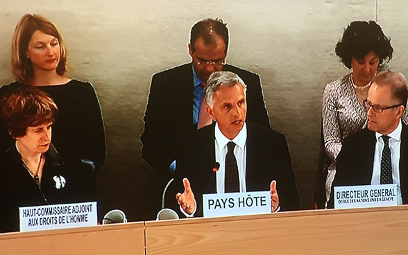 Federal Councillor, Didier Burkhalter, at the Human Rights Council session in Geneva, 13 June 2016 ©FDFA