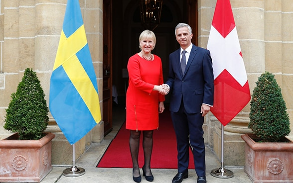 Federal Councillor Didier Burkhalter shaking hands with Swedish Foreign Minister Margot Wallström.