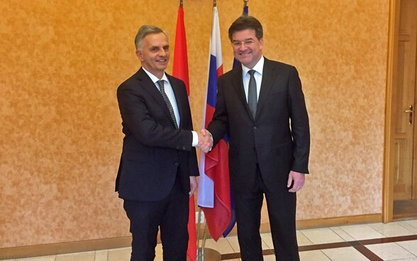 Federal Councillor Didier Burkhalter with the Slovak Minister of Foreign Affairs, Miroslav Lajcak. © FDFA