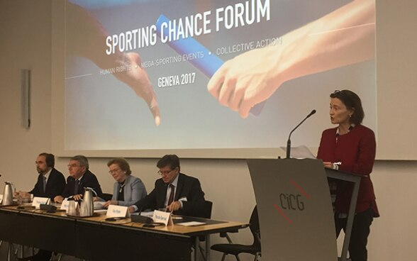State Secretary Pascale Baeriswyl speaks at the Sporting Chance Forum 2017 in Geneva.