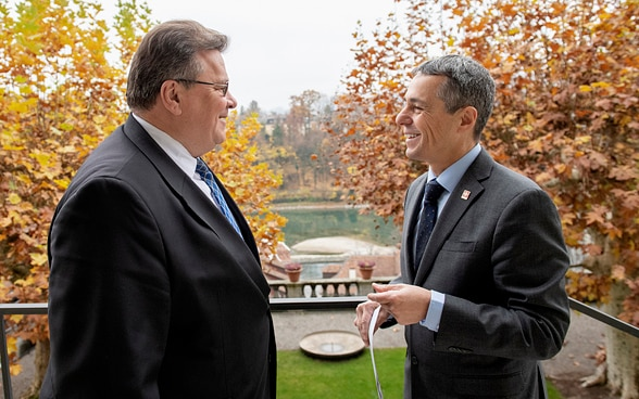 Federal Councillor Ignazio Cassis and Lithuanian counterpart