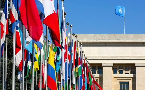 Flags from all over the world, courtyard with flags, Palais des Nations, Geneva.