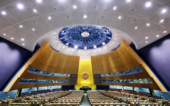 View of the Assembly Hall at United Nations headquarters.