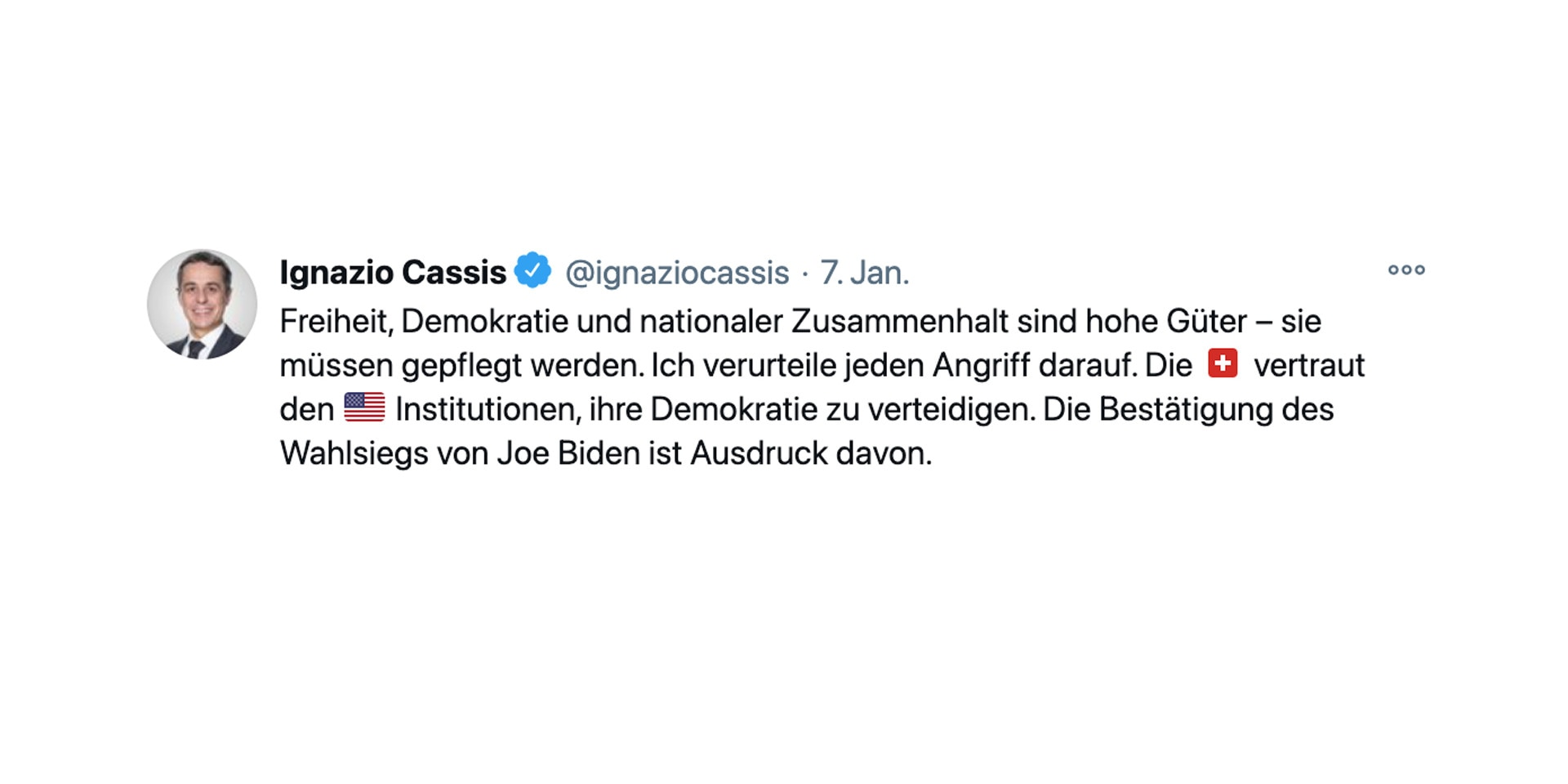 Image of the tweet published by Federal Councillor Ignazio Cassis after the events in Washington.