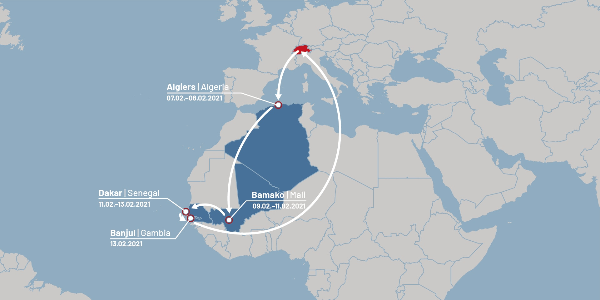 Graphic illustrating Federal Councillor Cassis' trip to Africa.