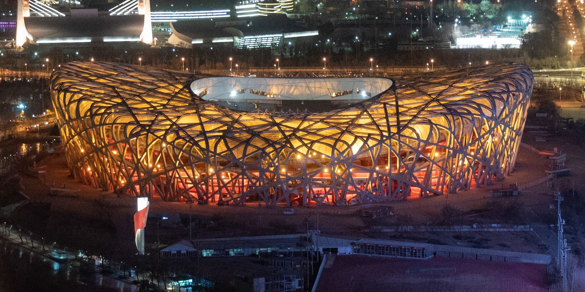 An aerial view of the Bird's Nest Stadium in Beijing.