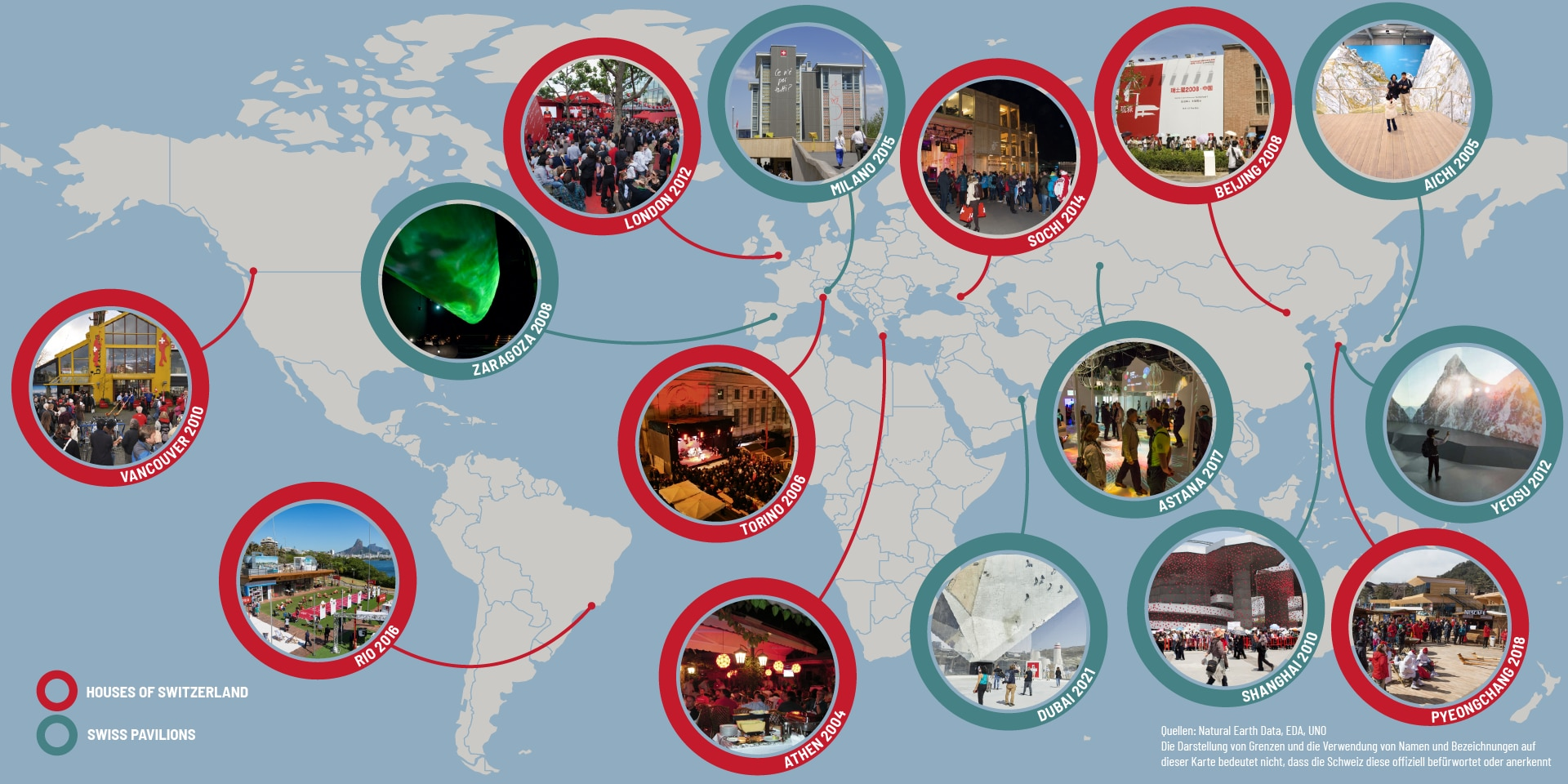 "Graphic representation of a world map with various small pictures of Swiss pavilions and the ""House of Switzerland"" at major international events."