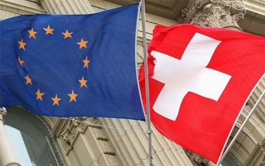 Image showing the European and Swiss flags