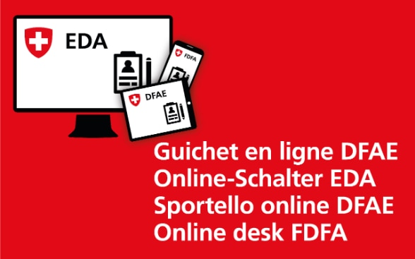 The logo of the FDFA's online desk in four languages