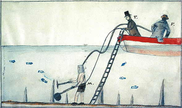19th century drawing: divers looking for prehistoric remains