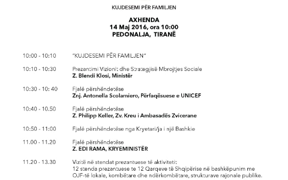 Agenda of launching of National Strategy for Social Inclusion, Tirana, Albania