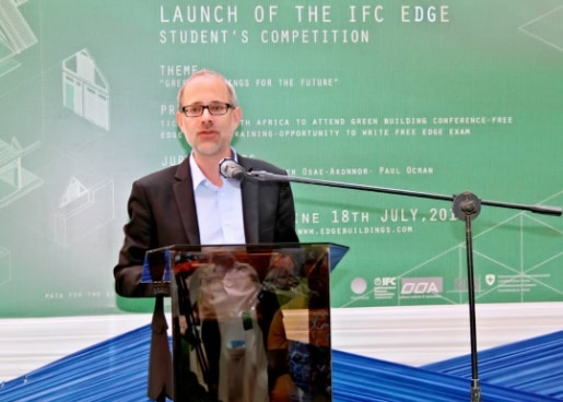 Matthias Feldmann, Deputy Head of Mission at the Embassy of Switzerland in Ghana, Togo and Benin giving remarks at the launching ceremony