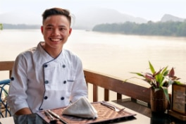 Thone at the Silk Road Café at the Living Crafts Centre by Ock Pop Tok, overlooking the Mekong river.