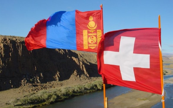 Mongolian and Swiss Flags