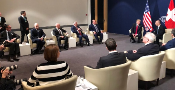 The U.S. and Swiss delegations meet during the 2018 WEF Annual Meeting.