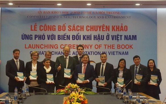 From left to right, Dr.  Dirk Pauschert (GIZ Programme Director); Ms. Luisa Bergfeld (German Embassy); Mdm Beatrice Maser (Ambassador of Switzerland to Vietnam);  Mr. Jasper Abramowski ( Country Director, GIZ in Vietnam); Mr. Christian Berger ( Ambassador of Germany to Vietnam); Mr. Marcel Reymond (SECO); Mr. Phan Xuan Dung (Chairman of NA's CSTE); Mr. Tran Van Minh (Vice Chairman of NA's CSTE); Dr. Nguyen Thi Nhu Mai (GIZ); Dr. Mai Trong Nhuan, (Vice Chairman of the Advisory Council, National Committee on Climate Change); Ms. Dinh Thi Hanh Mai (Deputy Director, Library of the National Assembly)
