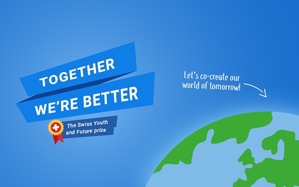 "Logo of the competition ""Together we're better"" where the globe can be seen."