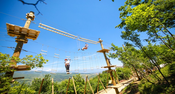 Two people on an adventure park ropes course.