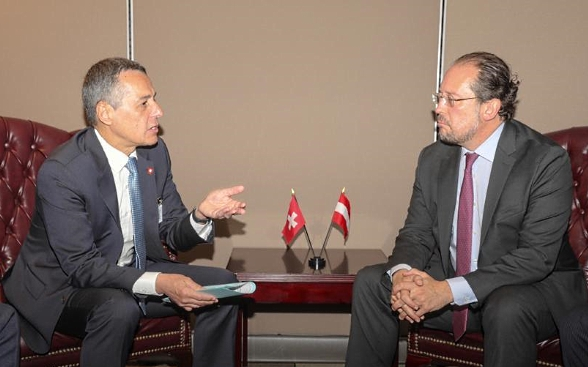 Head of FDFA, Ignazio Cassis, in discussion with Austrian foreign minister Schallenberg.
