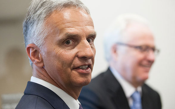 Close-up image of Federal Councillor Didier Burkhalter at the high level week of the 2016 UN General Assembly.
