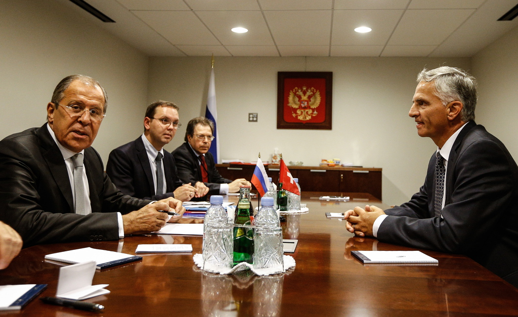 Russia's Foreign Minister Sergey Lavrov and Switzerland's Foreign Minister Didier Burkhalter during a meeting at the UN Headquarters in New York City.