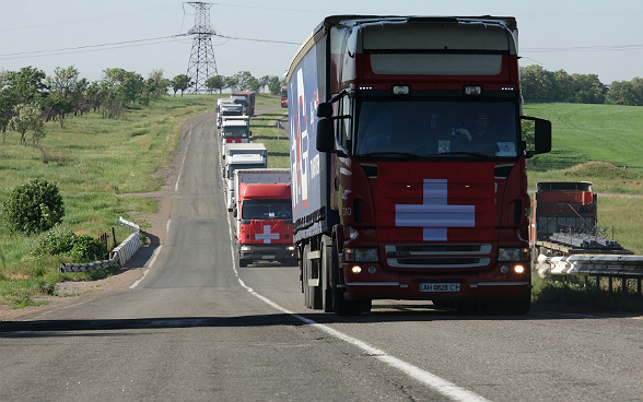 A line of lorries from the humanitarian convoy on the road.